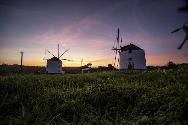 Inquadratura dal basso di mulini a vento con un'alba in un cielo viola chiaro in background