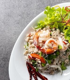 Insalata di vermicelli di gamberetti, insalata di pasta piccante, insalata piccante tailandese
