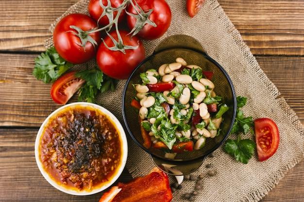 Insalata messicana di verdure di vista superiore