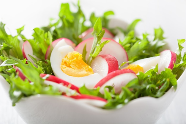 Insalata sana con ravanello uovo e foglie verdi