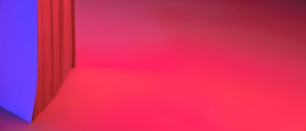 Insegna al neon astratta, pagine di carta di un libro. vivaci sfumature blu e rosse come sfondo