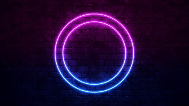 Insegna al neon circolare brillante. cornice al neon viola e blu.