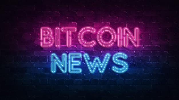 Insegna al neon di notizie bitcoin per banner