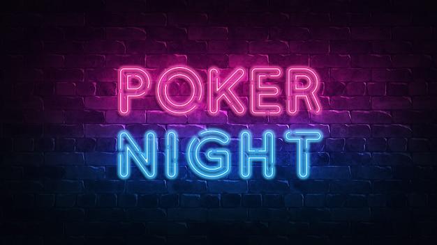 Insegna al neon di notte di poker in stile retrò. festa notturna.