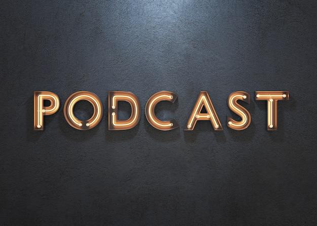 Insegna al neon di podcast su fondo scuro