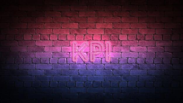 Insegna al neon kpi su una parete