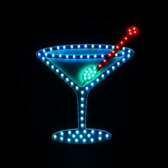 Insegna al neon nella barra con l'immagine del cocktail