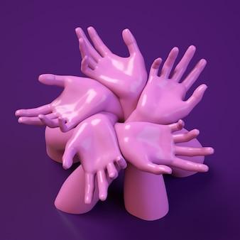 Insegna del quadrato dell'illustrazione della rappresentazione 3d con la composizione nel cerchio delle mani.