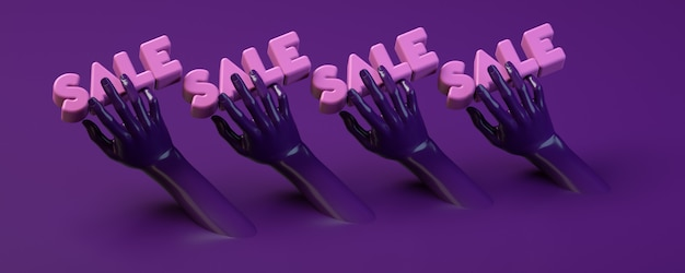 Insegna dell'illustrazione della rappresentazione 3d con le mani che tengono cerchio nella porpora