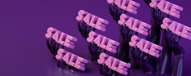 Insegna dell'illustrazione della rappresentazione 3d con le mani che tengono la parola di vendita per la pubblicità dei negozi.