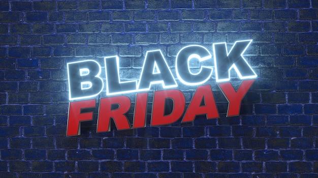 Insegna della lampada al neon del logo del black friday per la decorazione