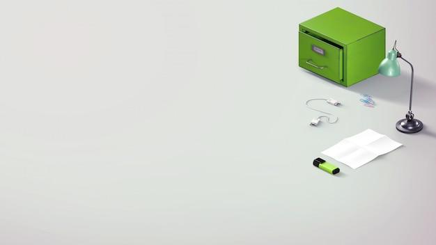 Insegna piana semplice del sito web di disposizione di vista superiore con gli elementi della cancelleria dell'ufficio nei colori verdi su backgorund grigio chiaro
