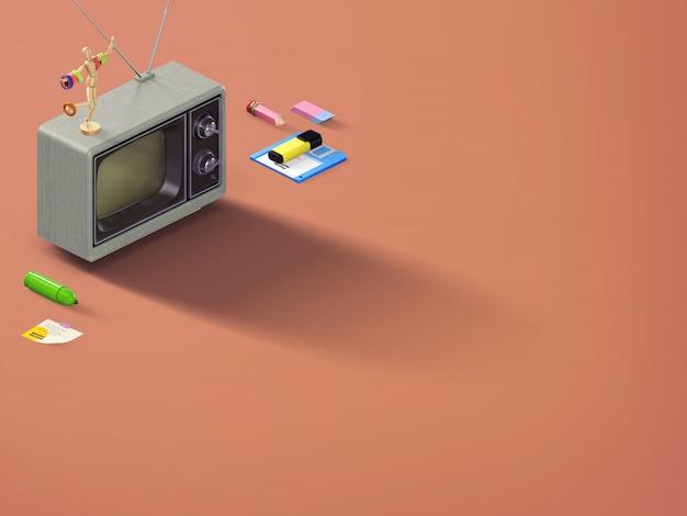 Insegna retro di scena di vista superiore di prospettiva con gli elementi della cancelleria e una vecchia tv su fondo marrone arancio
