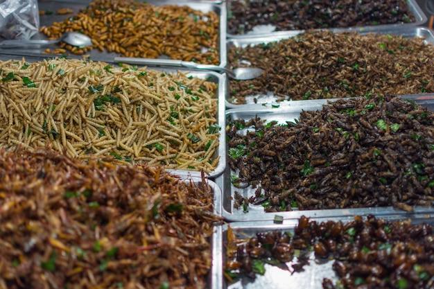 Insetti fritti di vari tipi è il cibo è facile da trovare nel mercato tailandese del cibo di strada