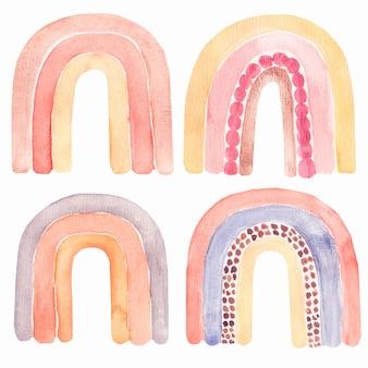 Insieme astratto dell'arcobaleno dell'acquerello dei bambini, clipart con gli arcobaleni dipinti a mano di boho.