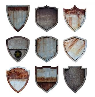 Insieme d'acciaio del segno delle icone protetto scudo del metallo isolato su fondo bianco