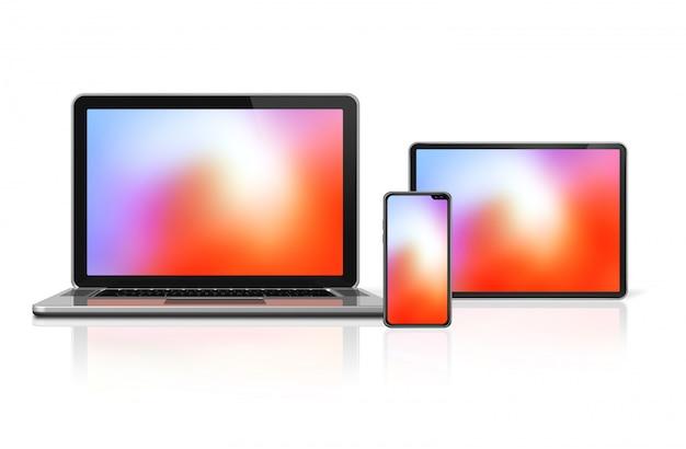 Insieme del computer portatile, della compressa e di telefono isolato. rendering 3d