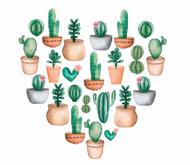 Insieme del cuore di cactus dell'acquerello set floreale tropicale. cuore di cactus di san valentino. set di piante da appartamento. clipart di cactus. cactus con fiori nel piatto.