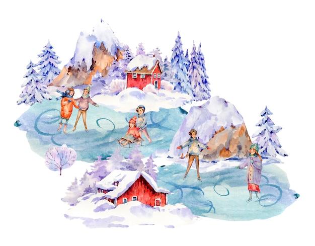 Insieme dell'acquerello dell'annata della gente di inverno che sledding, pattinaggio su ghiaccio su una pista. attività all'aperto sulla neve