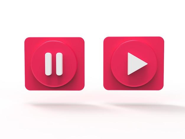 Insieme dell'illustrazione dei media sociali 3d di concetto del bottone di musica resi