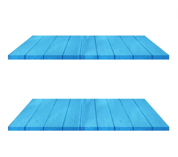 Insieme della tavola di scaffale di legno blu vuota su fondo bianco. montaggio del tuo prodotto