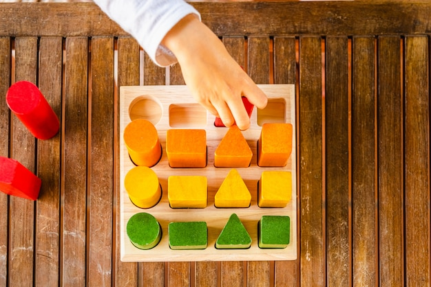Insieme di blocchi di legno di sequenze di forme geometriche dipinte con coloranti naturali, viste dall'alto, per aiutare lo sviluppo motorio dei bambini.