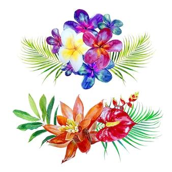 Insieme di clipart del mazzo dei fiori tropicali dell'acquerello. illustrazione di fiori esotici.