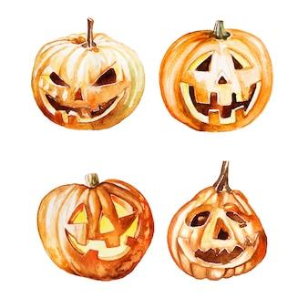 Insieme di clipart della zucca dell'acquerello isolato su un bianco. halloween