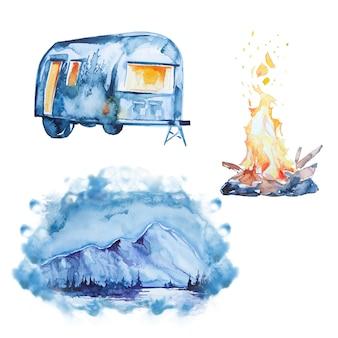 Insieme di clipart di campeggio stampato a mano dell'acquerello. clipart di concetto di campeggio.