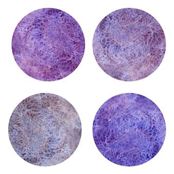 Insieme di forma del cerchio strutturato dell'acquerello. cerchi dipinti a mano meraviglia.