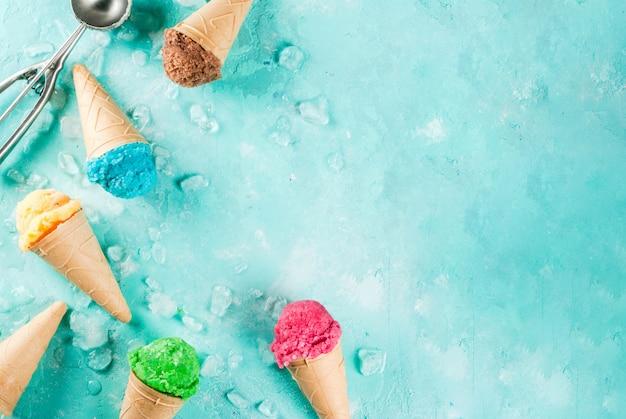 Insieme di vari gelati luminosi