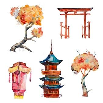 Insieme dipinto a mano di clipart della pagoda dell'acquerello isolato. illustrazione di design di architettura asiatica.