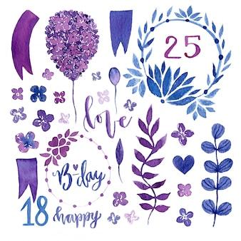 Insieme floreale dell'acquerello elementi di disegno floreale isolato per inviti, matrimonio, decorazione di compleanno