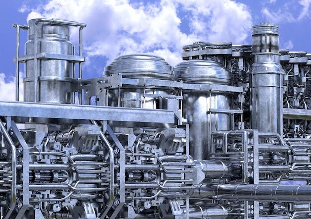 Installazione di impianti di raffineria di petrolio. primo piano dell'attrezzatura di industria petrolchimica all'aperto.