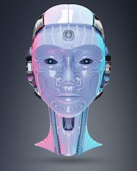 Intelligenza artificiale della testa del cyborg