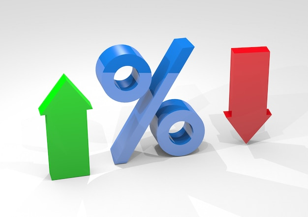 Interesse percentuale con frecce che indicano percentuali alte e basse isolate su sfondo bianco