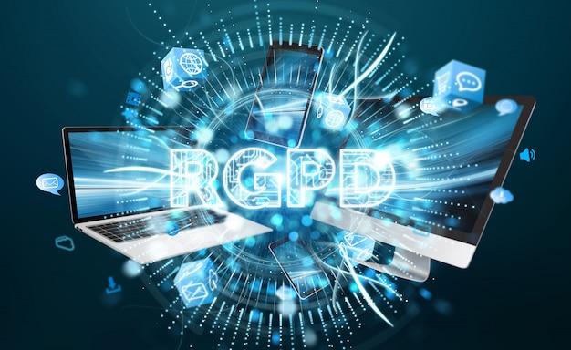 Interfaccia digitale gdpr su dispositivi 3d rendering 3d