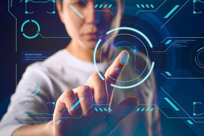 Interfaccia schermo tecnologia futuristica