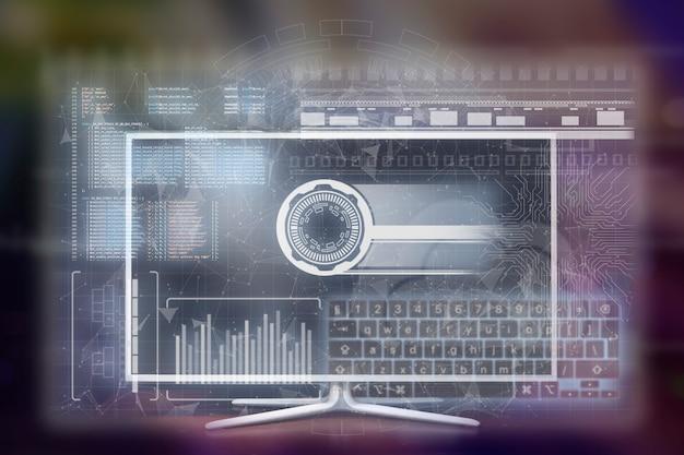 Interfaccia tv futuristica, display holorgaphic virtuale, informazioni