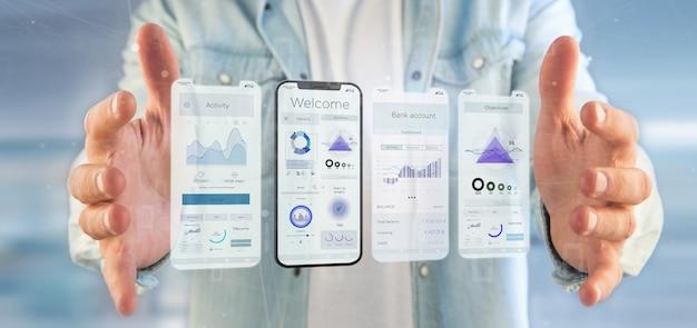 Interfaccia utente di interfaccia utente su uno smartphone - rendering 3d