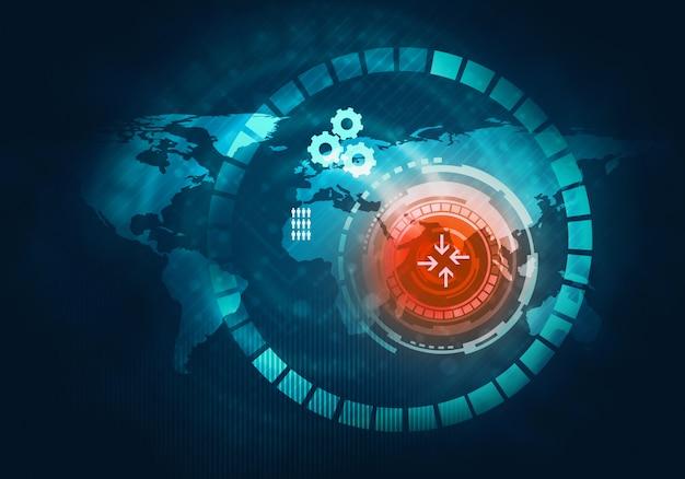 Interfaccia utente di tocco grafico virtuale blu futuristico di tecnologia aziendale