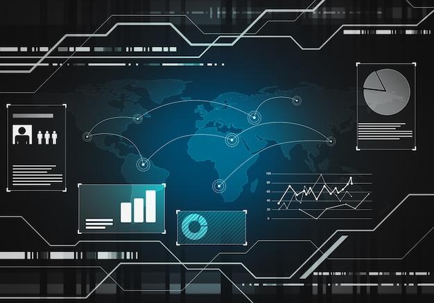 Interfaccia utente di tocco grafico virtuale blu nero futuristico di tecnologia aziendale