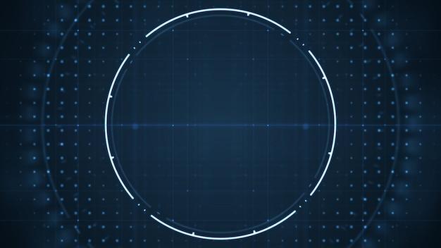 Interfaccia utente futura tecnologica hud con cerchi rotanti su sfondo blu scuro.
