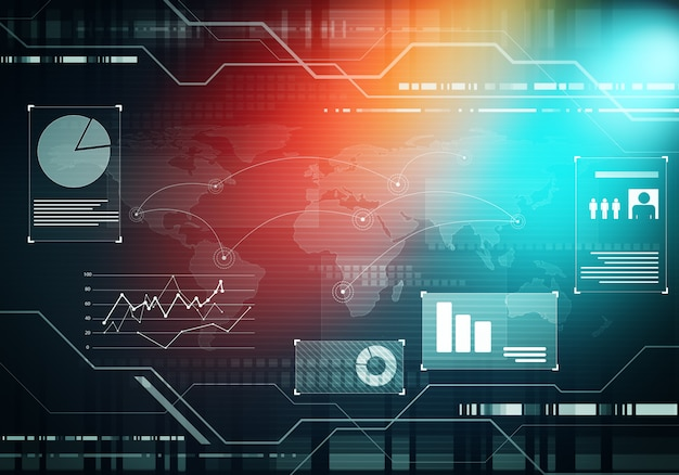 Interfaccia utente futuristica astratta di tecnologia aziendale hud