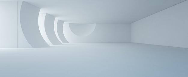 Interior design astratto dello showroom bianco moderno con il pavimento ed il muro di cemento vuoti