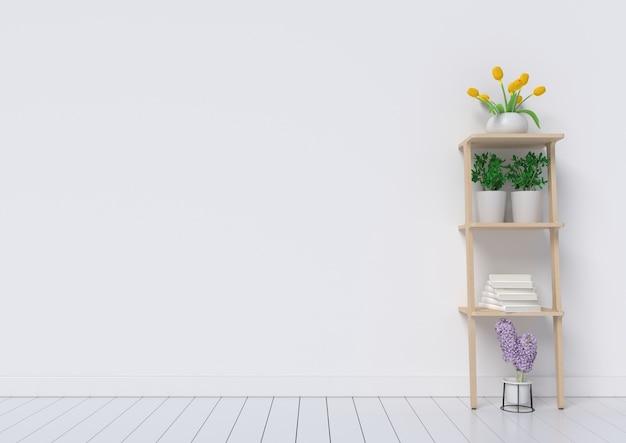 Interior design bianco con le piante su un pavimento, rappresentazione 3d