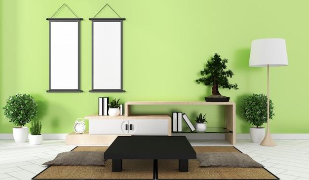 Interior design camera verde in stile giapponese