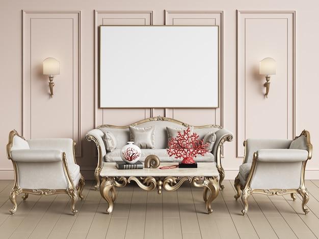 Interior design classico con copia spazio. modello. illustrazione digitale rendering 3d