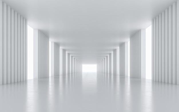 Interior design del corridoio illuminato. rendering 3d