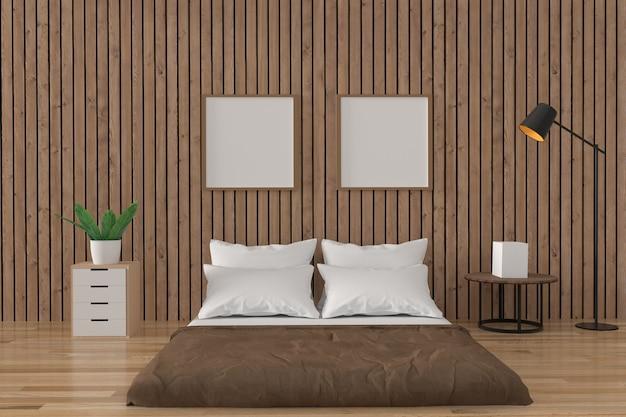 Interior design del sottotetto della camera da letto nella stanza di legno nella rappresentazione 3d